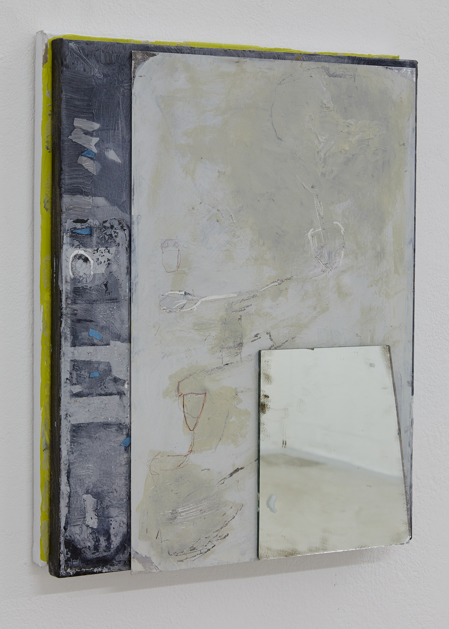 Block of Memory, Mirror over aluminum over 2 canvases, 51 x 41 x 5cm