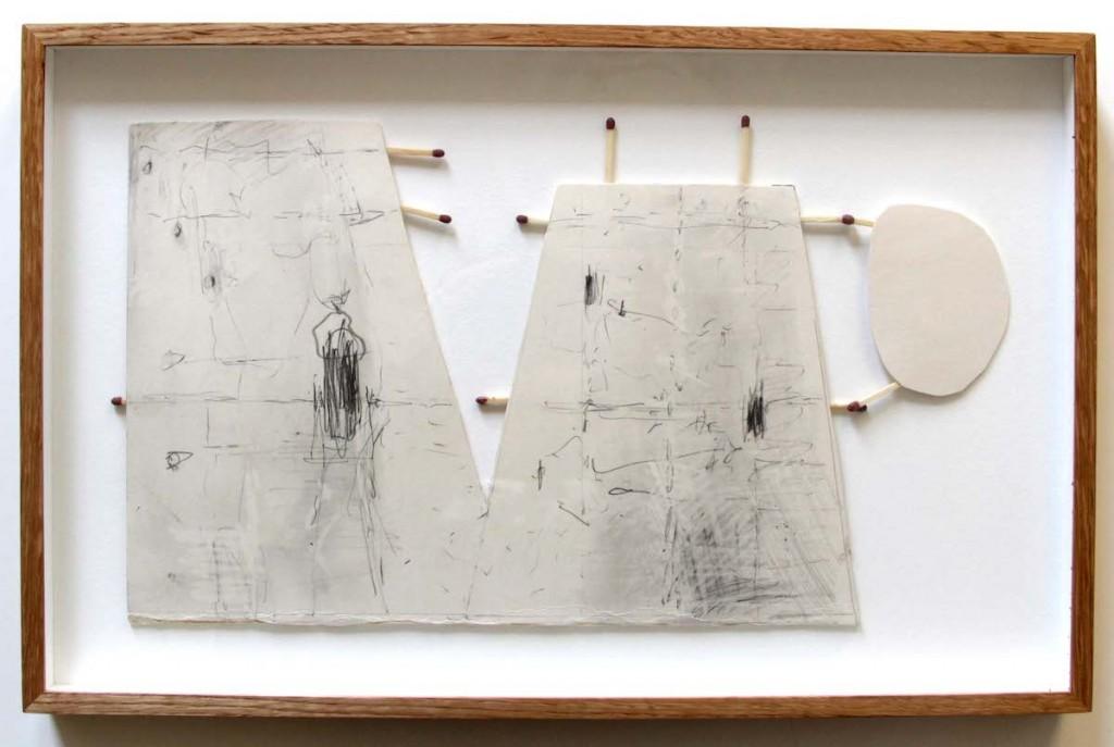 Magic Matches, pencil on card board ad matches, 20 x 35 cm, MA work